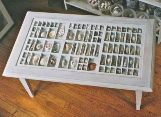 Awesome way to display shells, etc. Type Set Drawer Coffee Table. Cute idea. I would need a MUCH bigger table tho, lol! by juanita