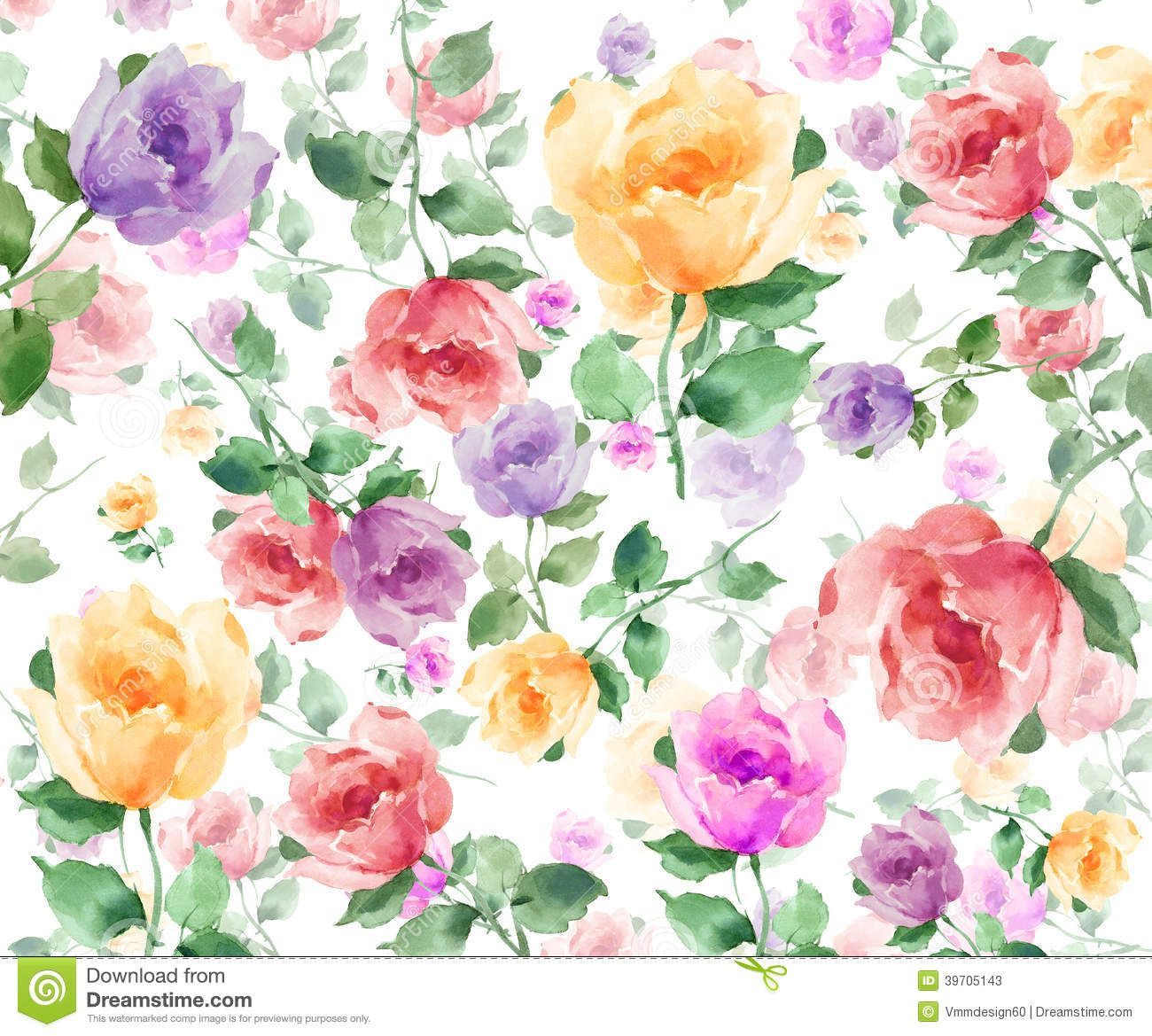 Watercolor Flowers Seamless Background Pattern Download From