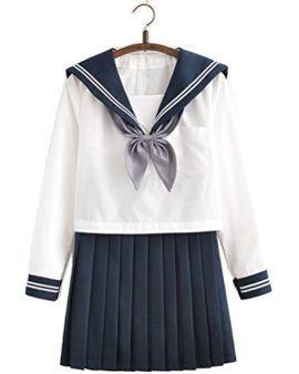 Japanese Girl Sailor School Uniform Women JK Pleated Skirt White Blouse Costume