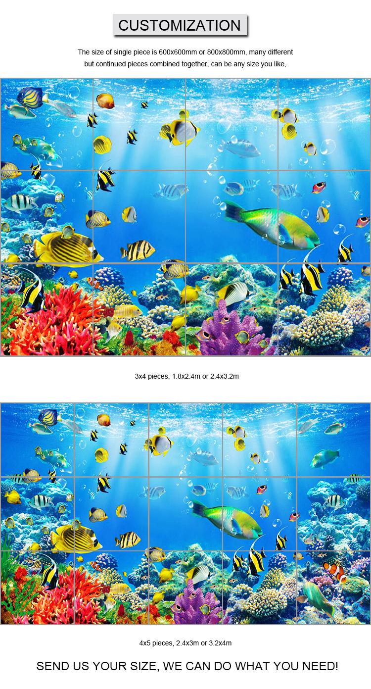 3d Ocean Blue Bathroom Porcelain Wall And Floor Tile With ...