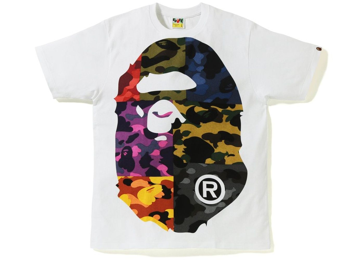 b985eeb6 BAPE Mix Camo Big Big Ape Head Tee White in 2019 | Shirts | Bape ...