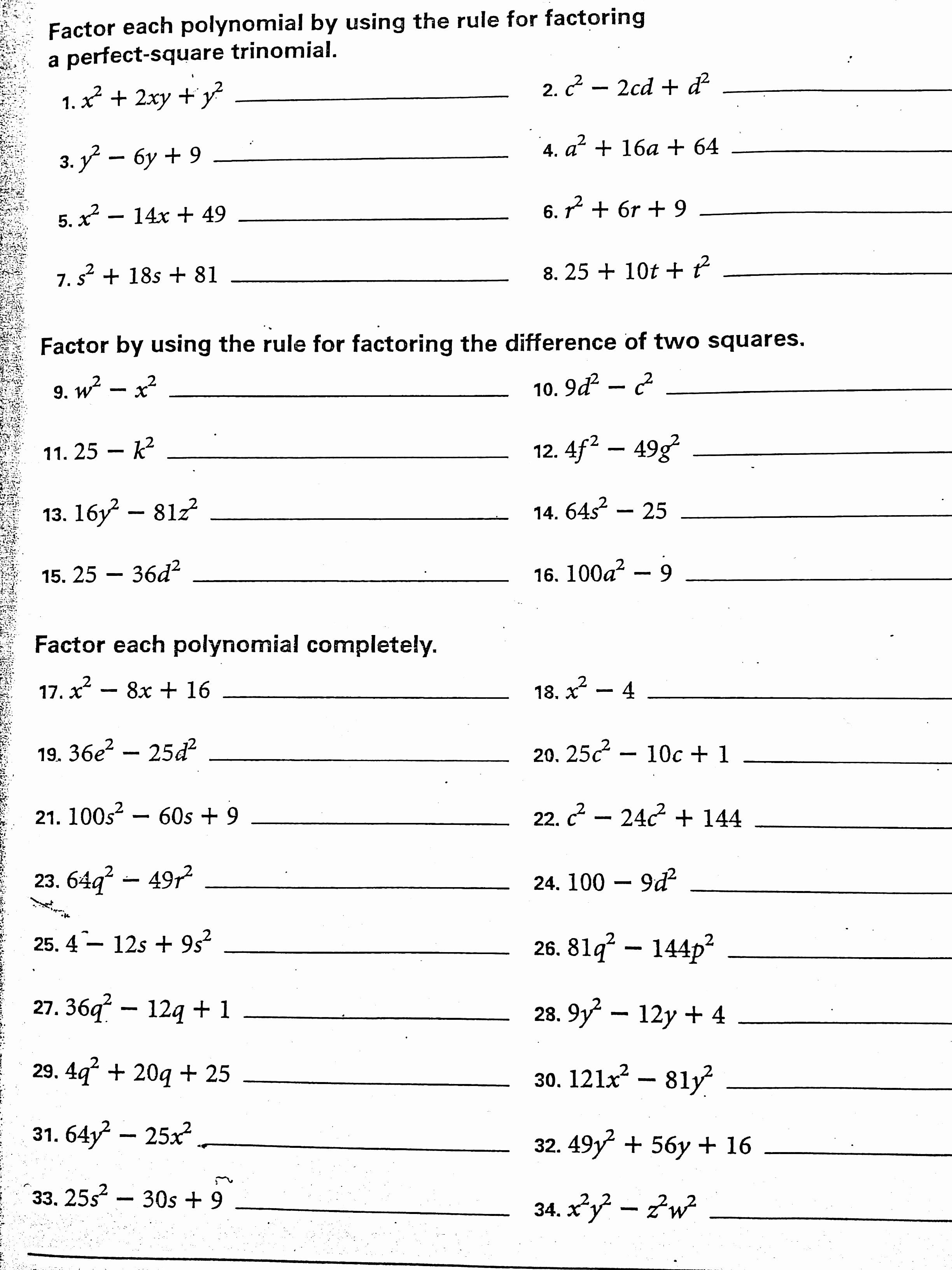Factoring Difference Of Squares Worksheet New Algebra 1