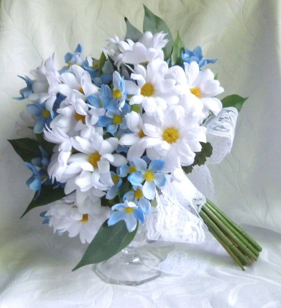 Daisy bridal bouquet White daisy and blue cosmos wedding bouquet and boutonniere set