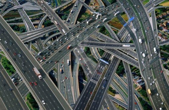 Aerial Motorway Interchange Uk Traffic roads cars | Roads and ...