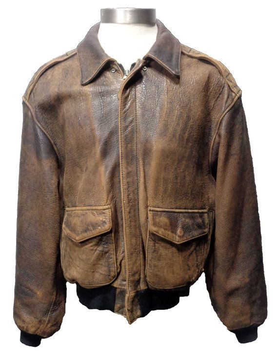 b53abe2caca AVIREX A-2 Vintage Brown Leather Bomber Jacket Size S Price   239.99