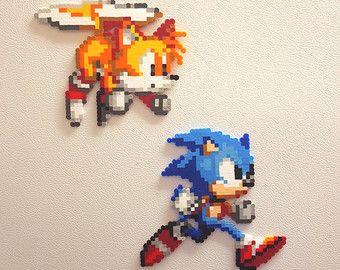 Sonic The Hedgehog Robotnik Perler Beads Wall Art Sega Etsy Bead Sprite Perler Beads Pixel Art