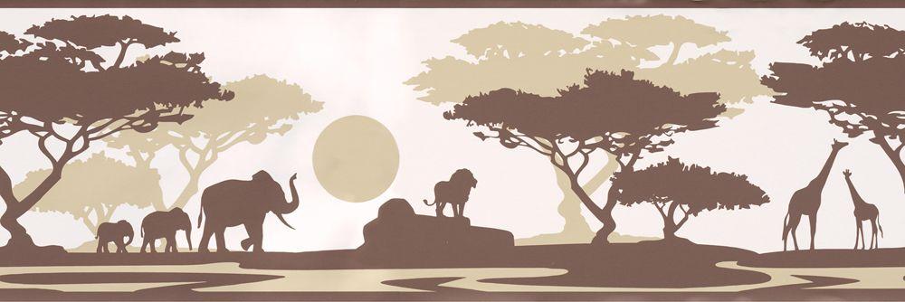 Selbstklebende Bordüre Safari Afrika braun | Kinderzimmer ...
