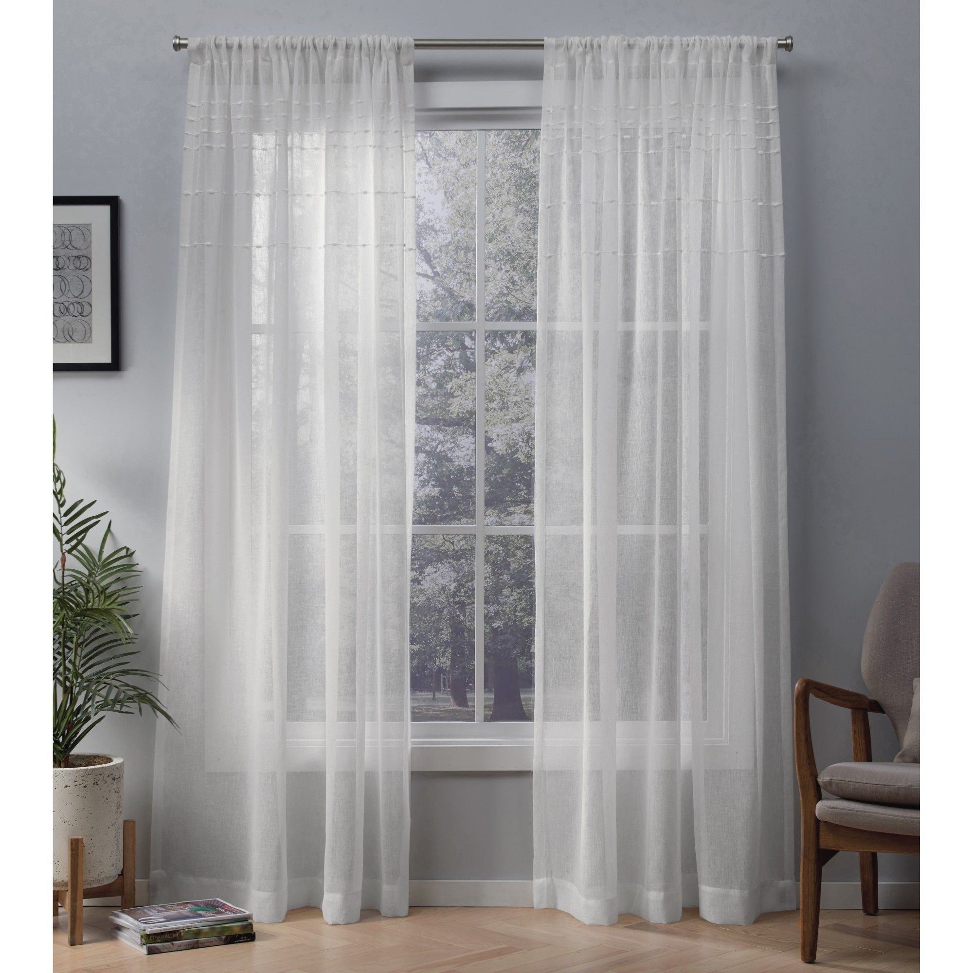54 X96 Davos Sheer Window Curtain Panel Snowflake White