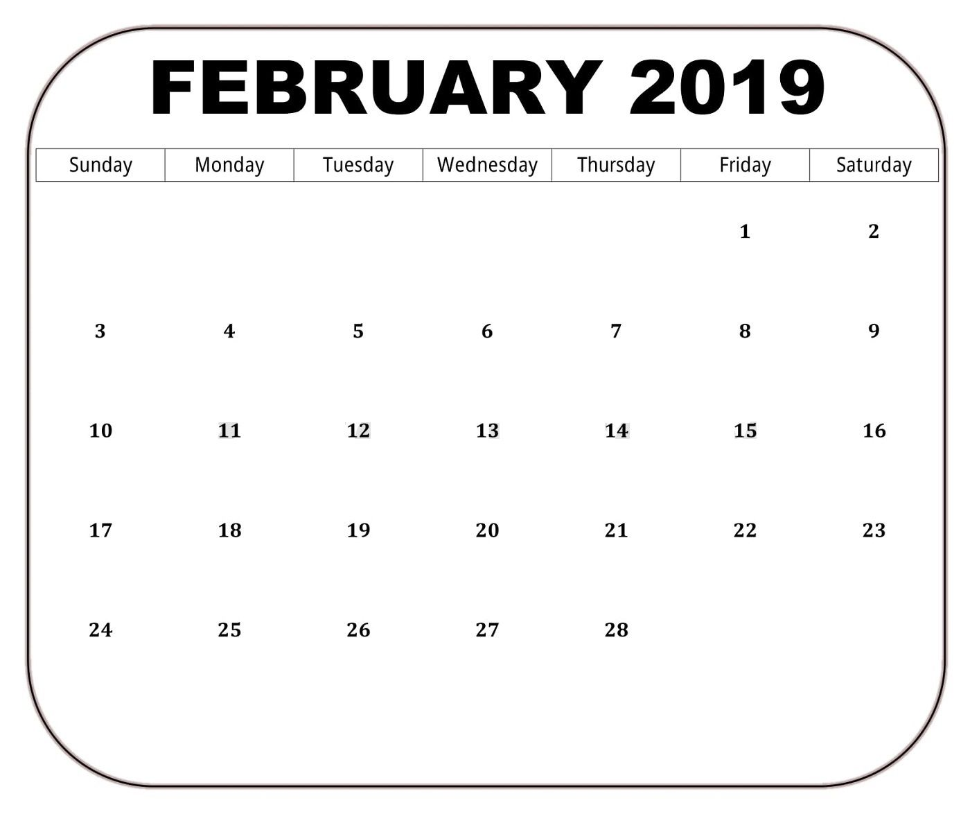 Download February 2019 Holidays Calendar 125 February 2019