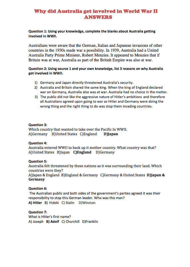 Answers Why Did Australia Get Involved In Wwii Wwii Worksheets