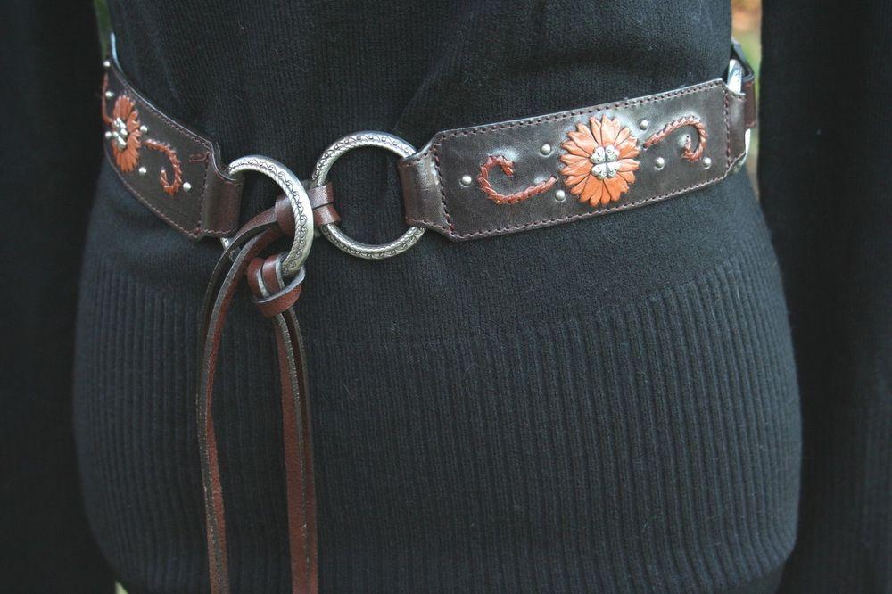 BRIGHTON Belt Brown Leather Flowers Silver Studs Roping Medium BRAND NEW #Brighton