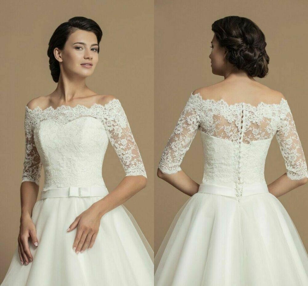 New Wedding Lace Jacket Off Shoulder Bridal Boleros Half Sleeve