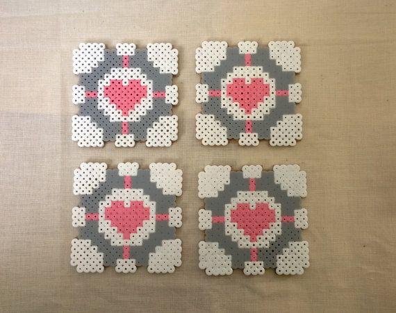 portal companion cube coastershama perler beads by. Black Bedroom Furniture Sets. Home Design Ideas