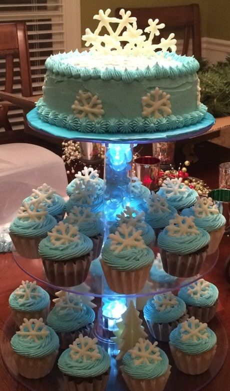 A birthday cupcake tower. The perfect way to celebrate a winter birthday