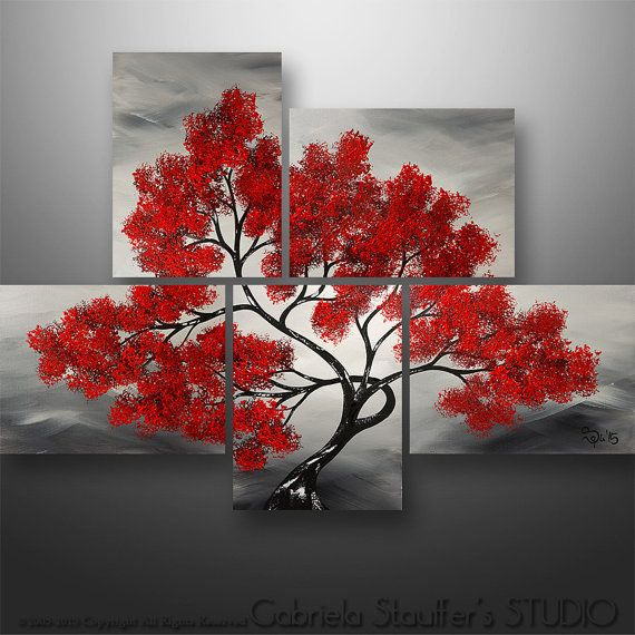 Abstract Painting Modern Landscape Acrylic Asian Tree by Catalin