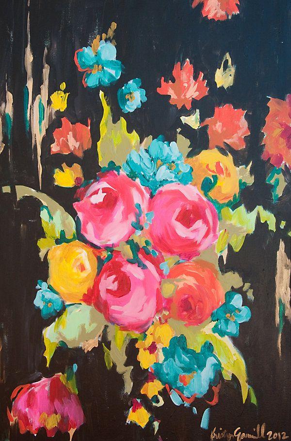 One Kings Lane - Emerging Artists - Kristy Gammill, Floral on Black -she lives in Edmond OK!