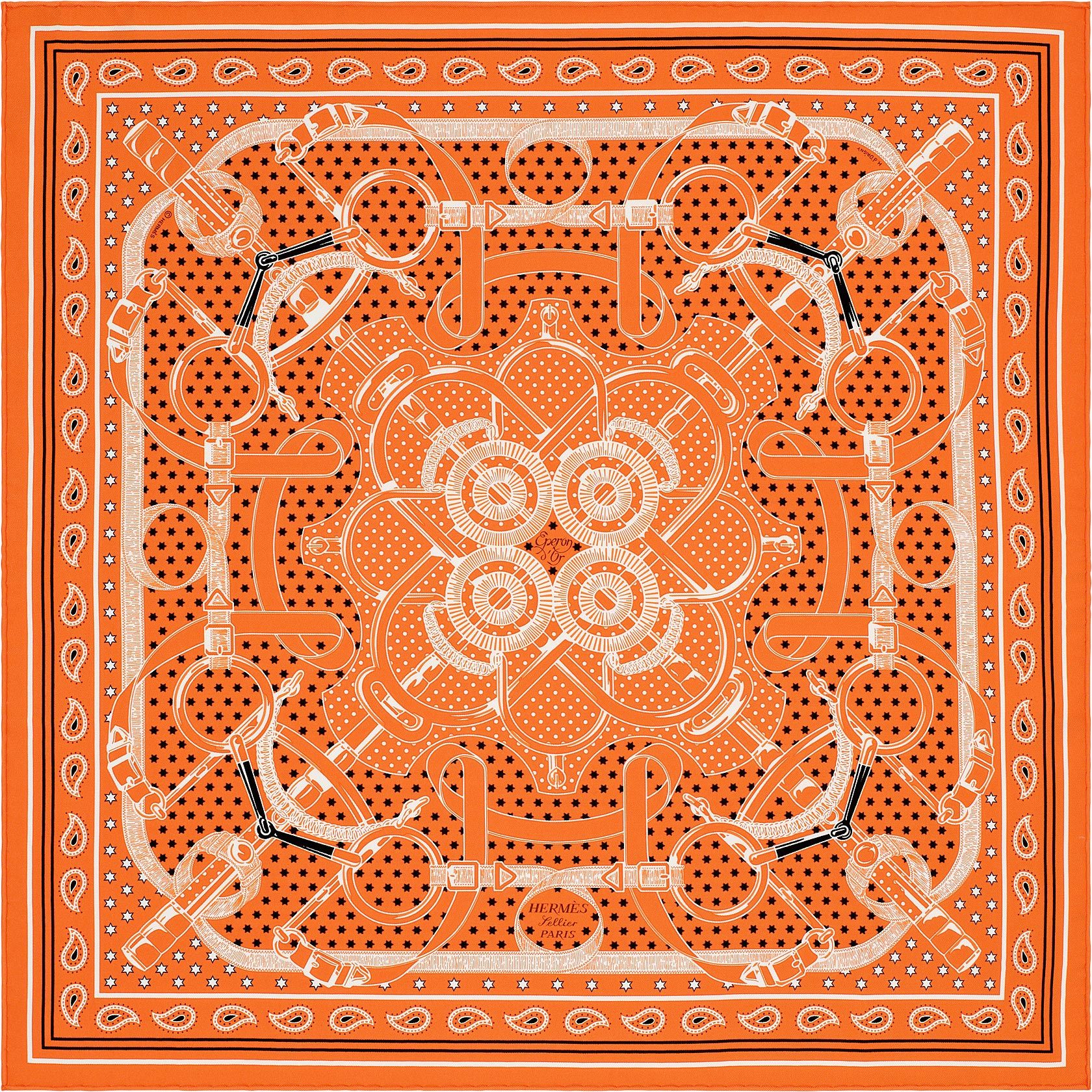 cd539b84f458 Bandana 55 x 55 cm Hermès   Eperon d Or   Mode   Carré hermes ...
