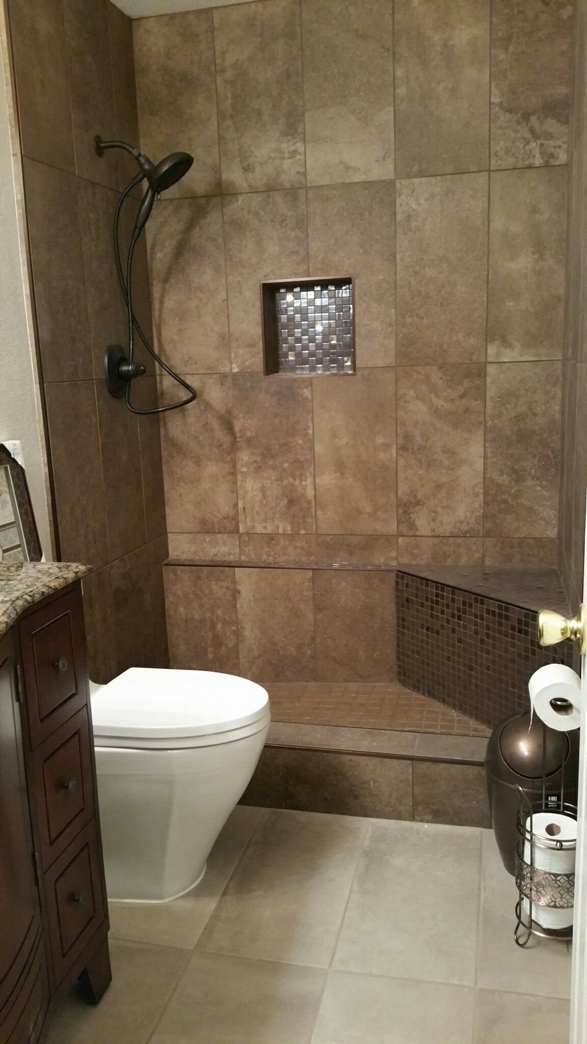 Small bathroom remodel. Brown tones, wood vanity, Toto brand toilet ...