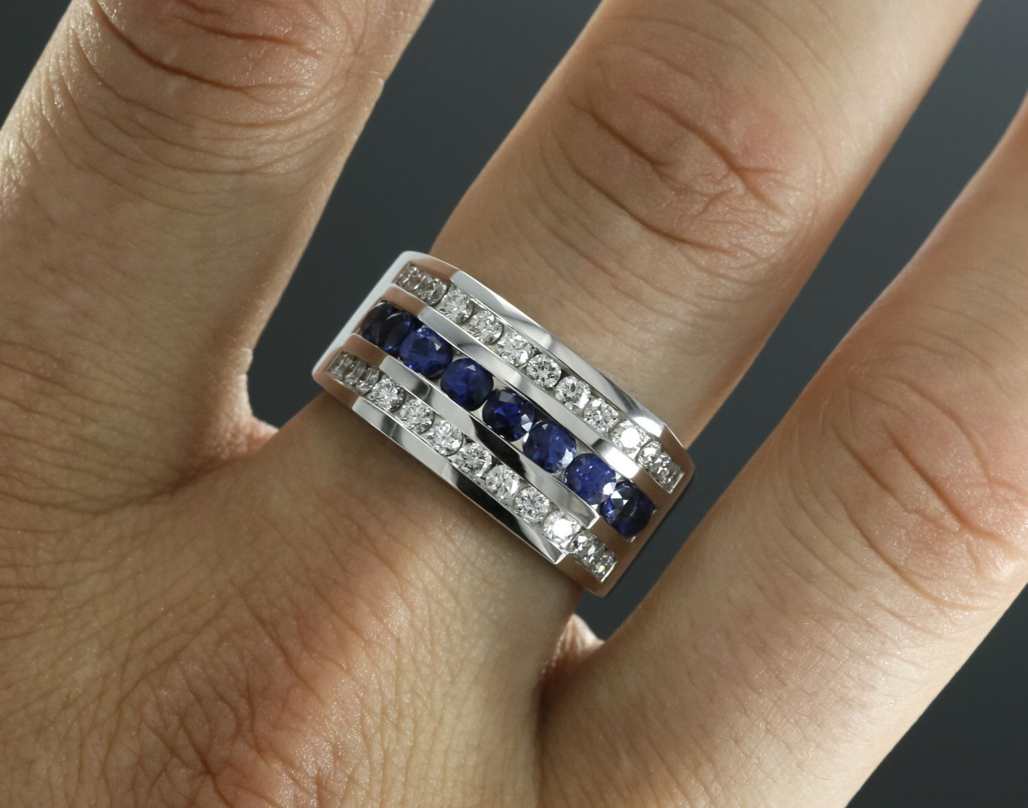 12mm Wide Diamond And Blue Sapphire Men S Wedding Band In Etsy In 2020 Wedding Ring Bands White Gold Blue Sapphire