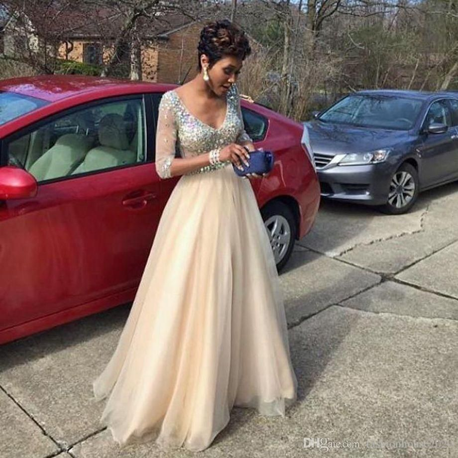 Sparkly beaded long sleeve prom dresses deep v neck sheer