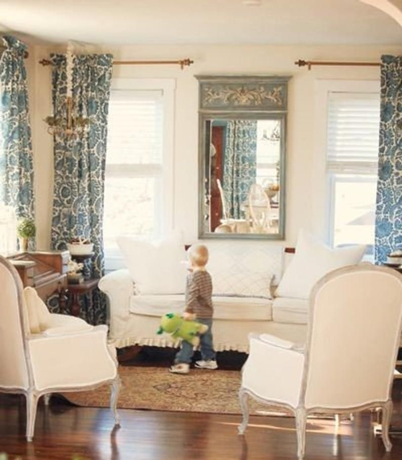 Indigo Blue And Off White Lined Curtains Cobalt Blue Lined Etsy In 2020 Living Room Drapes Living Room Blinds Living Room Draperies #off #white #living #room #curtains