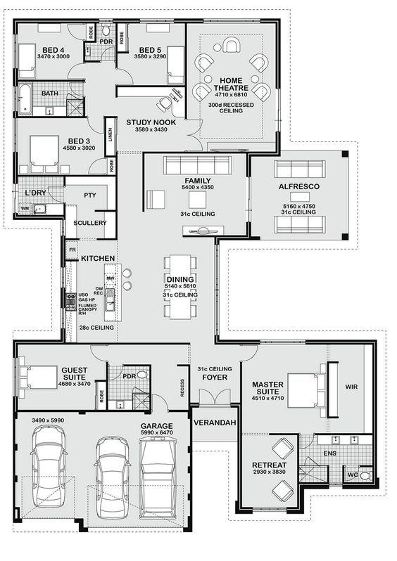 Floor Plan Friday 5 Bedroom Entertainer Dream House Plans Bedroom House Plans Floor Plans