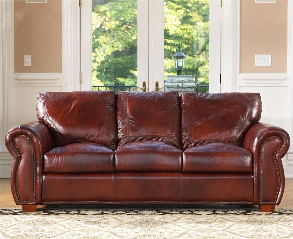 Leather Sofa  Stationary Sofa by USA Premium Leather