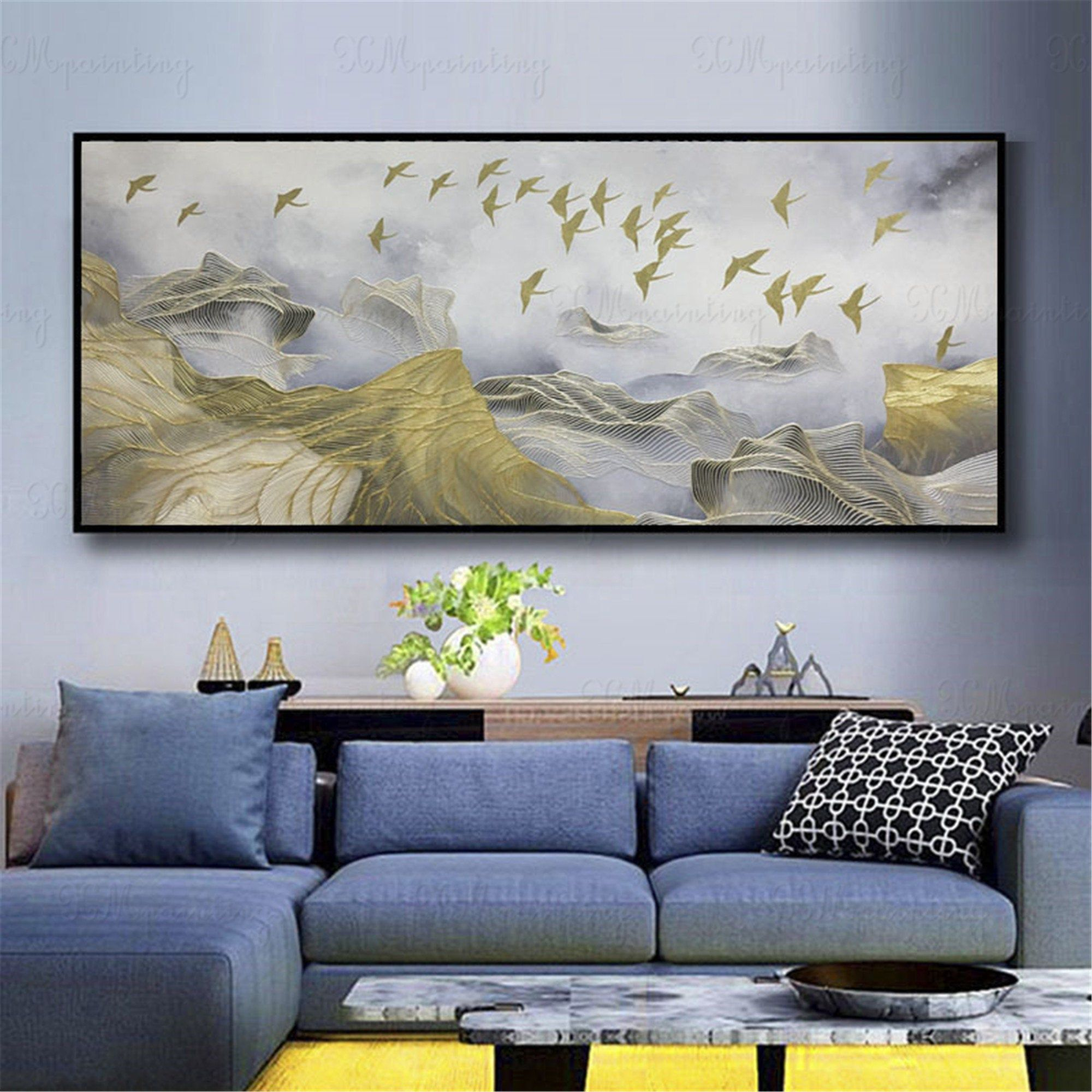 Gold Art Abstract Painting Wall Pictures For Living Room Wall Decor Home Decor Bedroom Gold Lines Gold Leaf Birds Original Acrylic Canvas Living Room Pictures Wall Decor Living Room Abstract Canvas Wall art for the living room