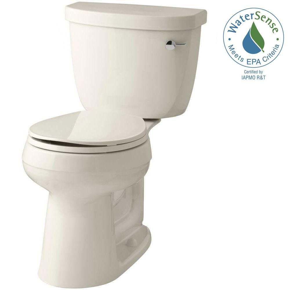 Kohler Cimarron Comfort Height 2 Piece 1 28 Gpf Round Toilet With Aquapiston Flush Technology In
