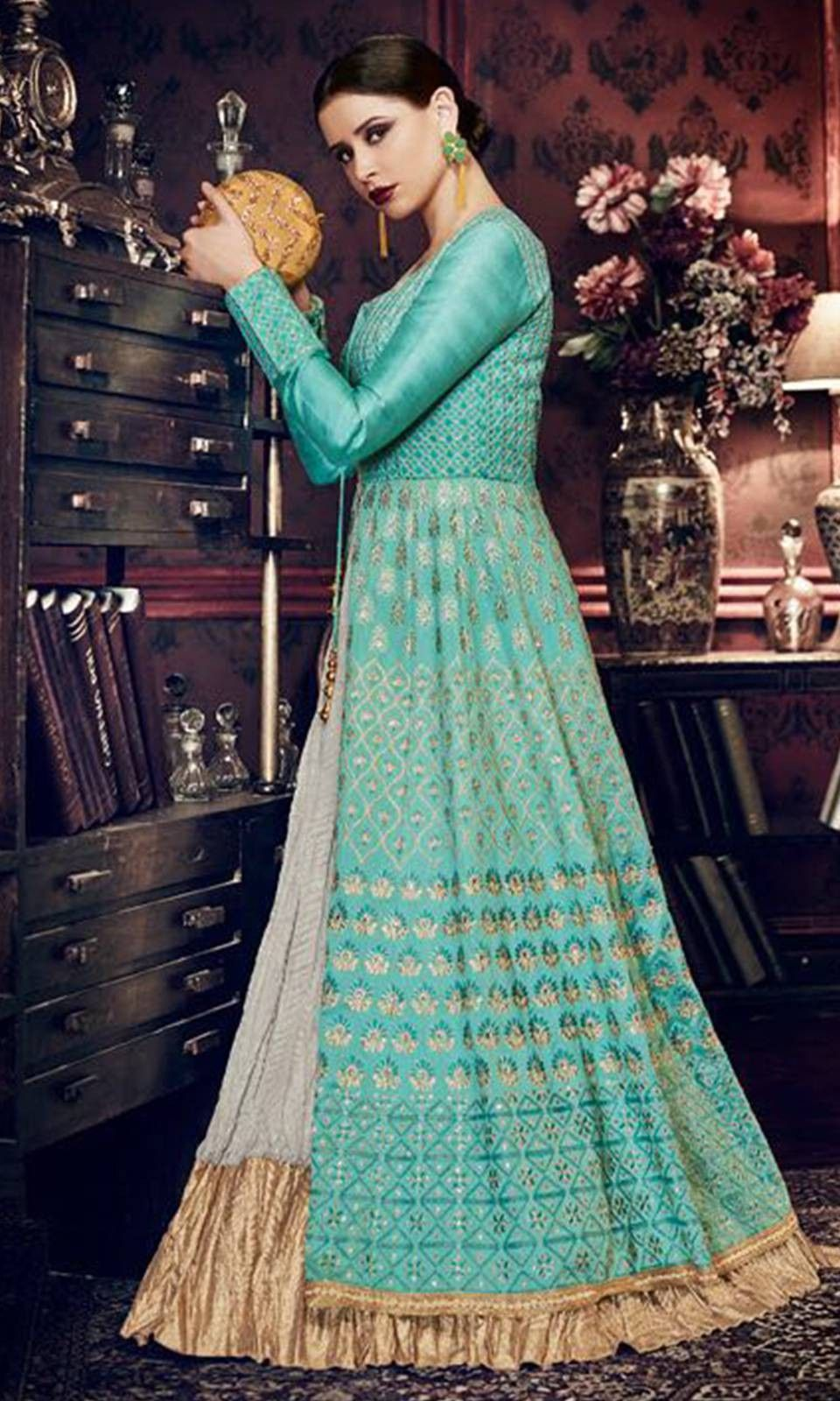 Buy online #Blue and #Grey Wedding #Party Designer #Salwar #Suit ...