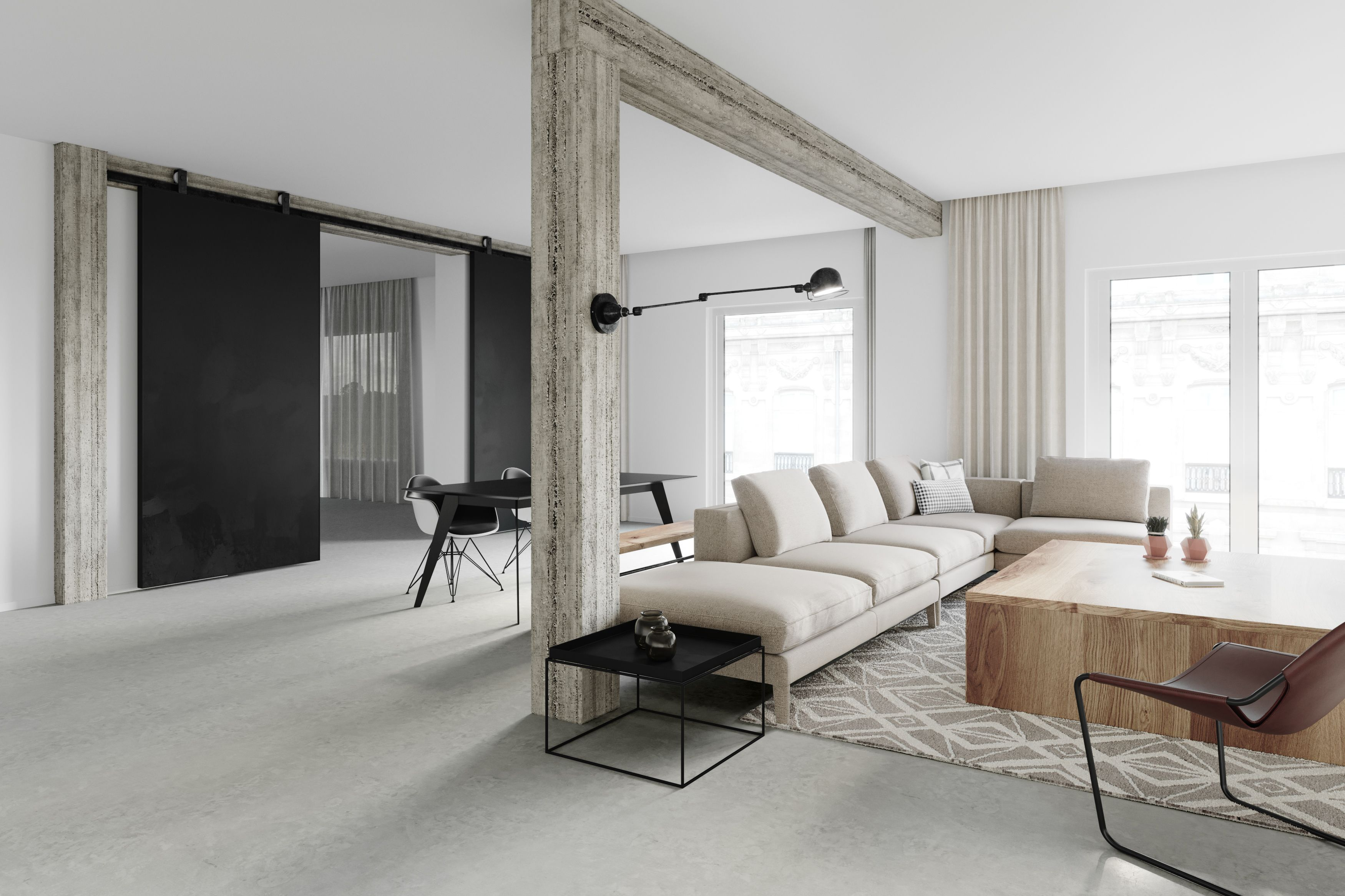 concrete, slab, column, modern, white, apartment