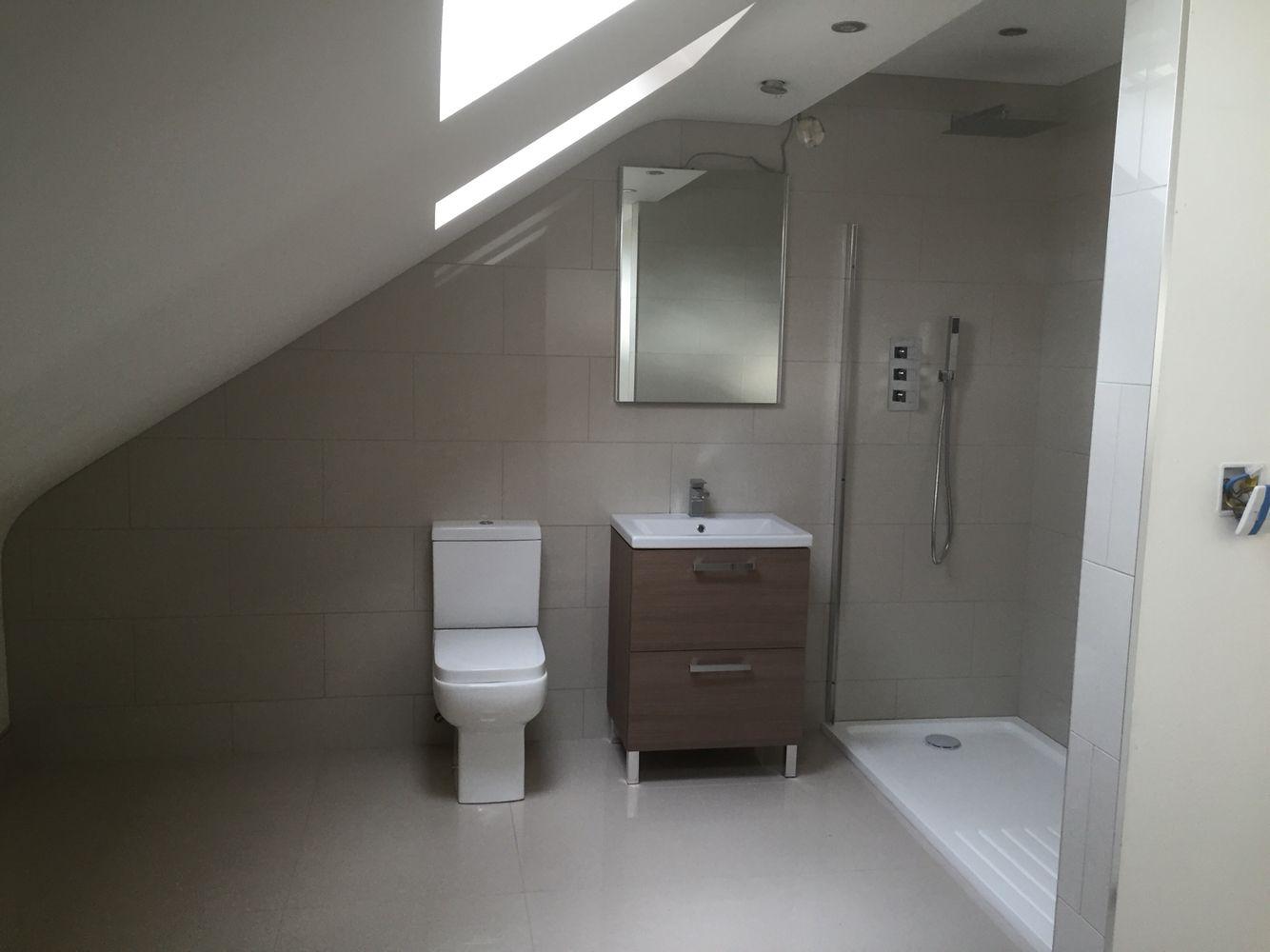 Ensuite Bathroom In Victorian House loft room ensuite. topps tiles: regal vanilla polished. walk in