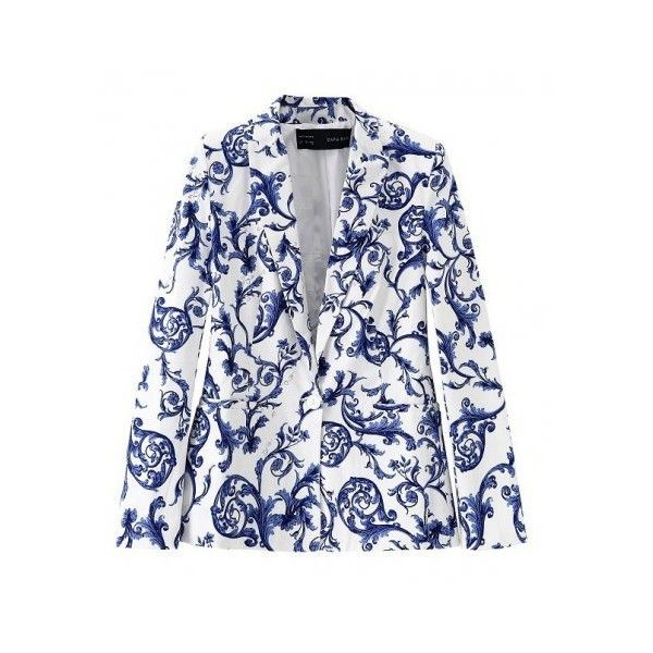 White Blue China Vase Antique Long Sleeves Jacket Blazer ($35) ❤ liked on Polyvore featuring outerwear, jackets, blazers, blue jackets, long sleeve blazer, white blazer, long sleeve jacket and blue blazer