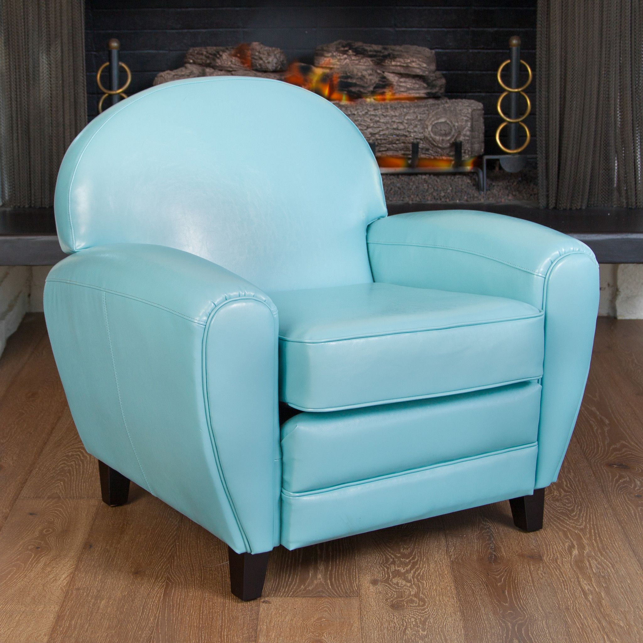 Hayley Teal Blue Leather Cigar Club Chair Blue Leather Chair