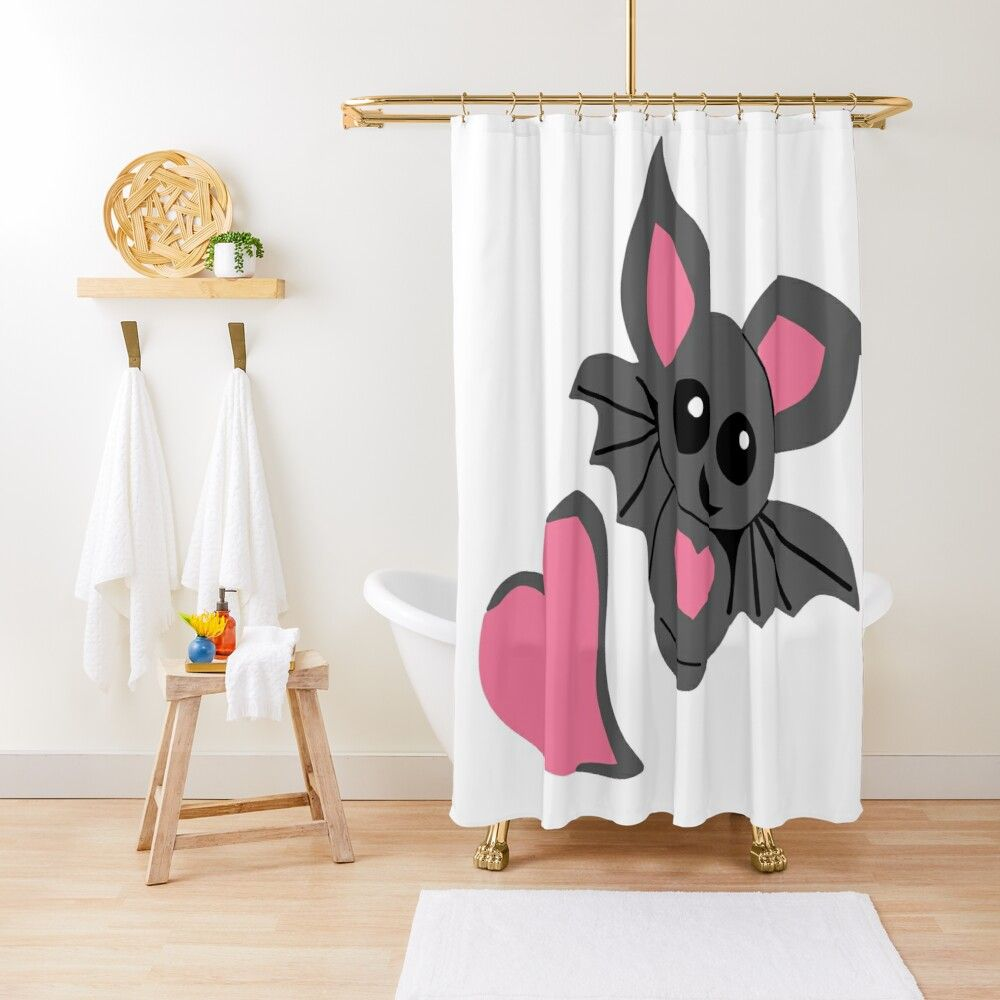Cute Baby Love Bat Shower Curtain With Images Baby Bats