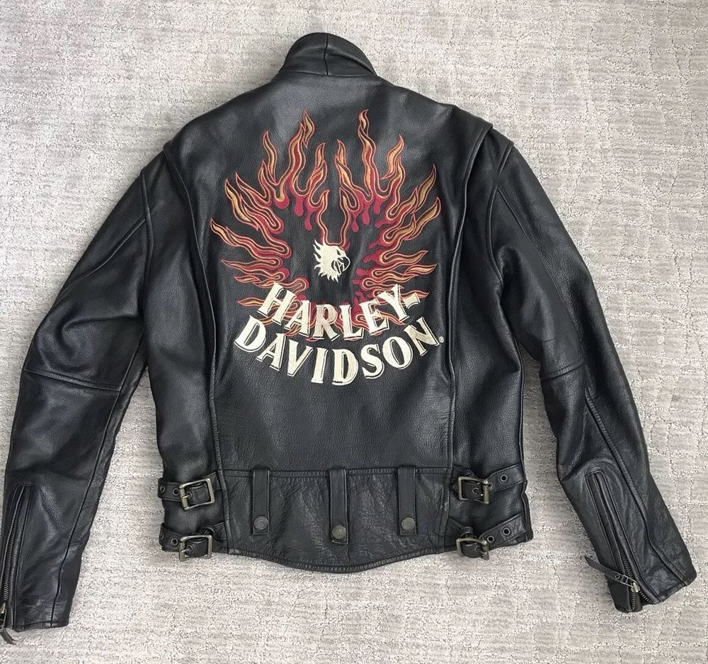 HARLEY DAVIDSON Womens Leather Motorcycle Jacket Small