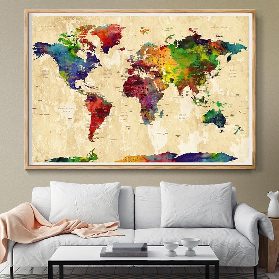 WORLD MAP, Large World Map, Watercolor World Map, World Map Art ...