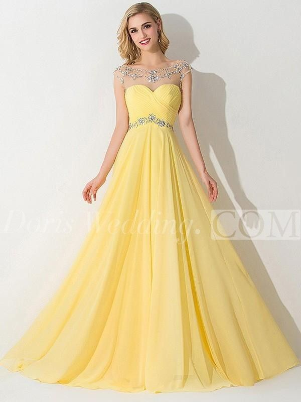 US 87.20-A-Line Princess Sleeveless Bateau Chiffon Ruched Long Yellow Prom  Dresses 4d77f7c39dd7