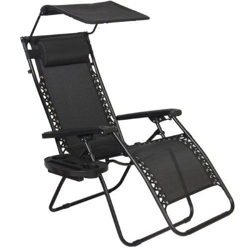 Folding Zero Gravity Recliner Lounge Chair W/ Canopy Shade U0026 Magazine Cup  Holder (Black)