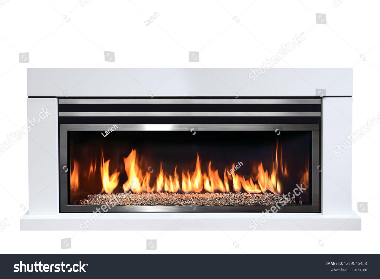 Burning Gas Fireplace Isolated On White Background Fireplace Gas