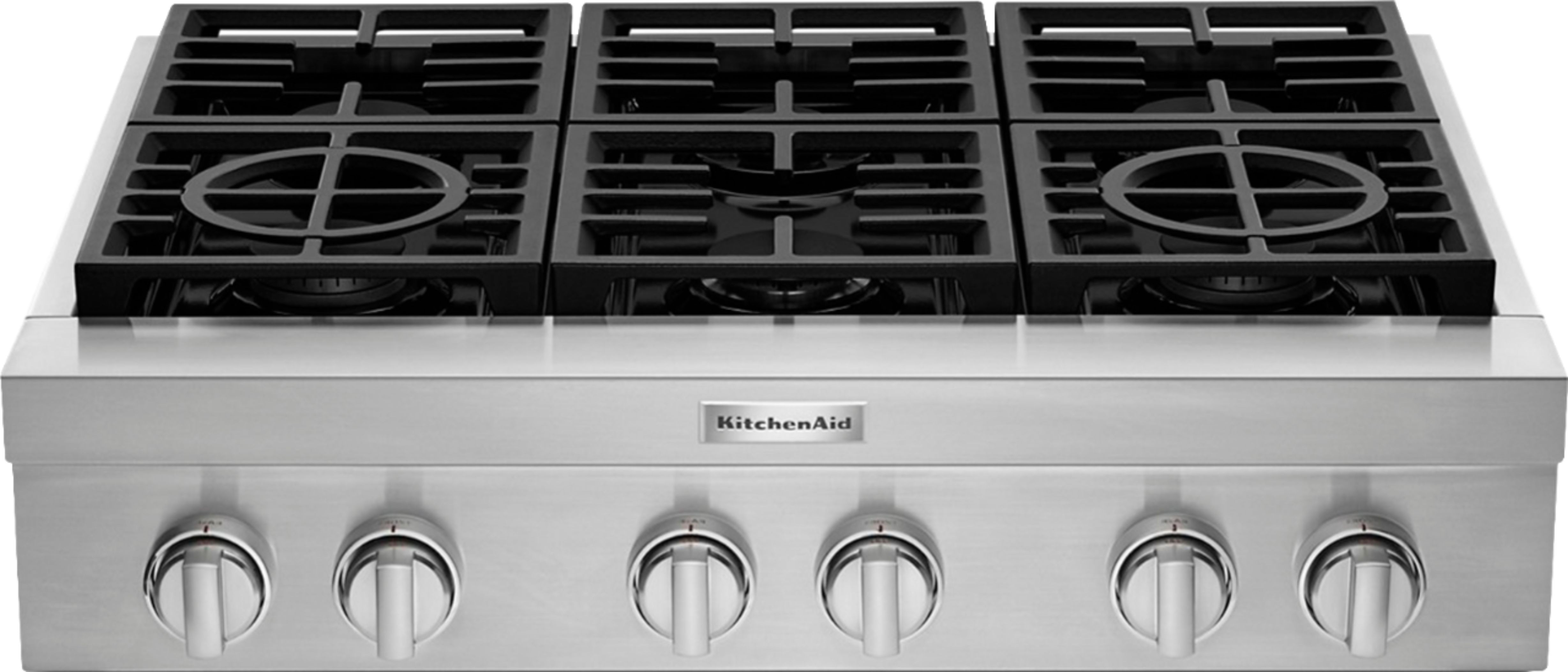 Kitchenaid Commercial Style 36 Built In Gas Cooktop Stainless Steel Kcgc506jss Best Buy In 2020 Gas Cooktop Cooktop Kitchen Aid