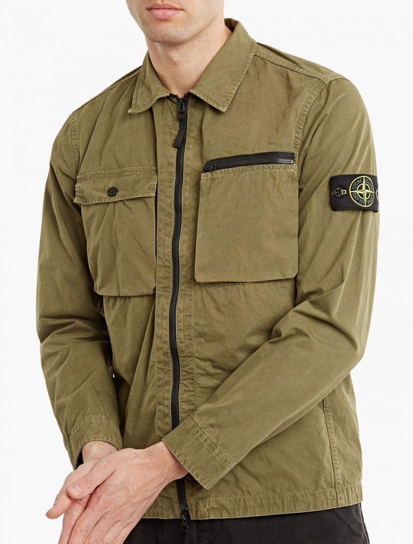 Stone Island,Khaki Zip-Down Overshirt,GREEN,0   ideas   Shirts ... b5a43a885d3