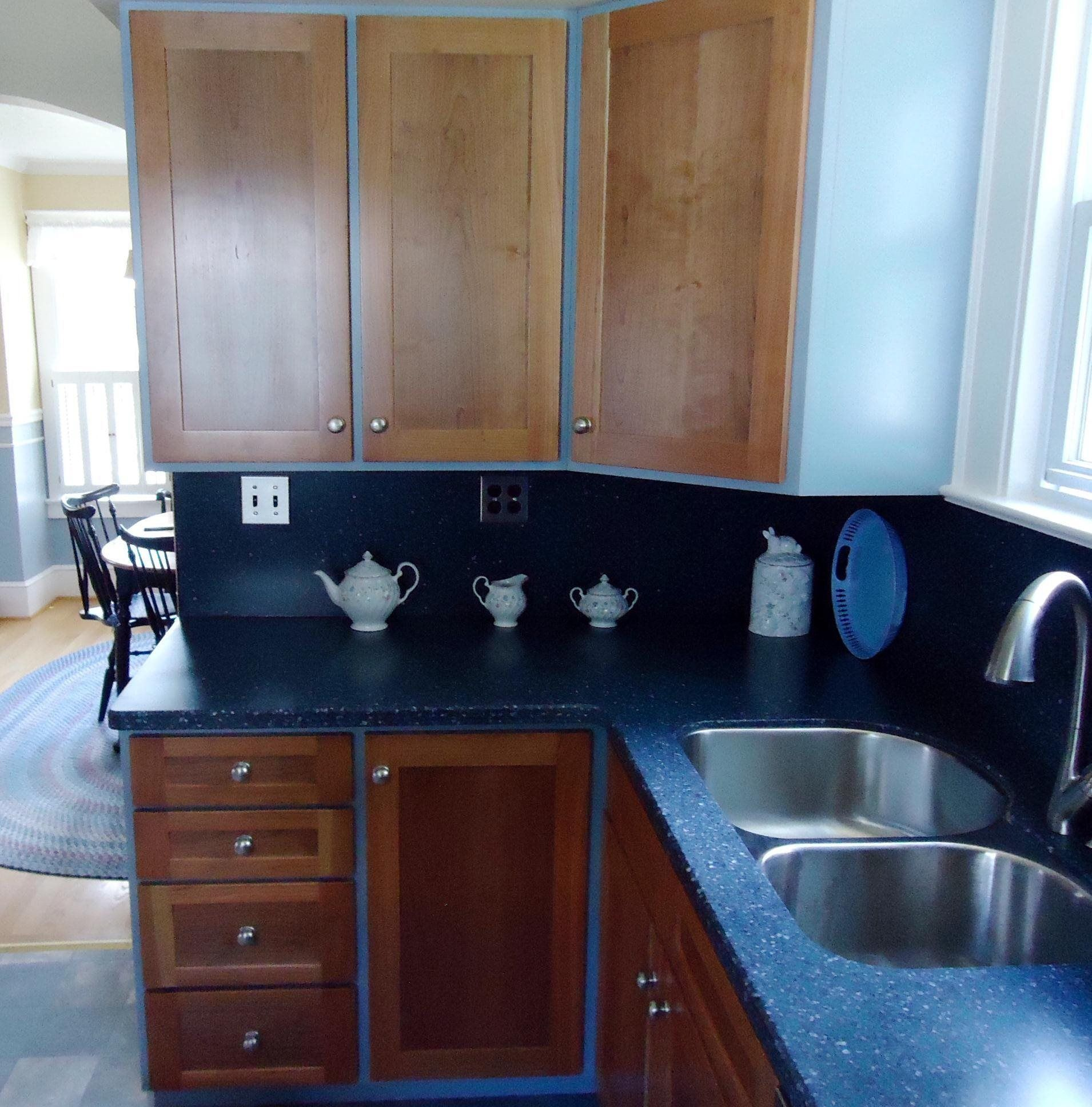 Solid Surface Kitchen Cabinet: Robert Kane Custom Woodworking: Blue Cabinets