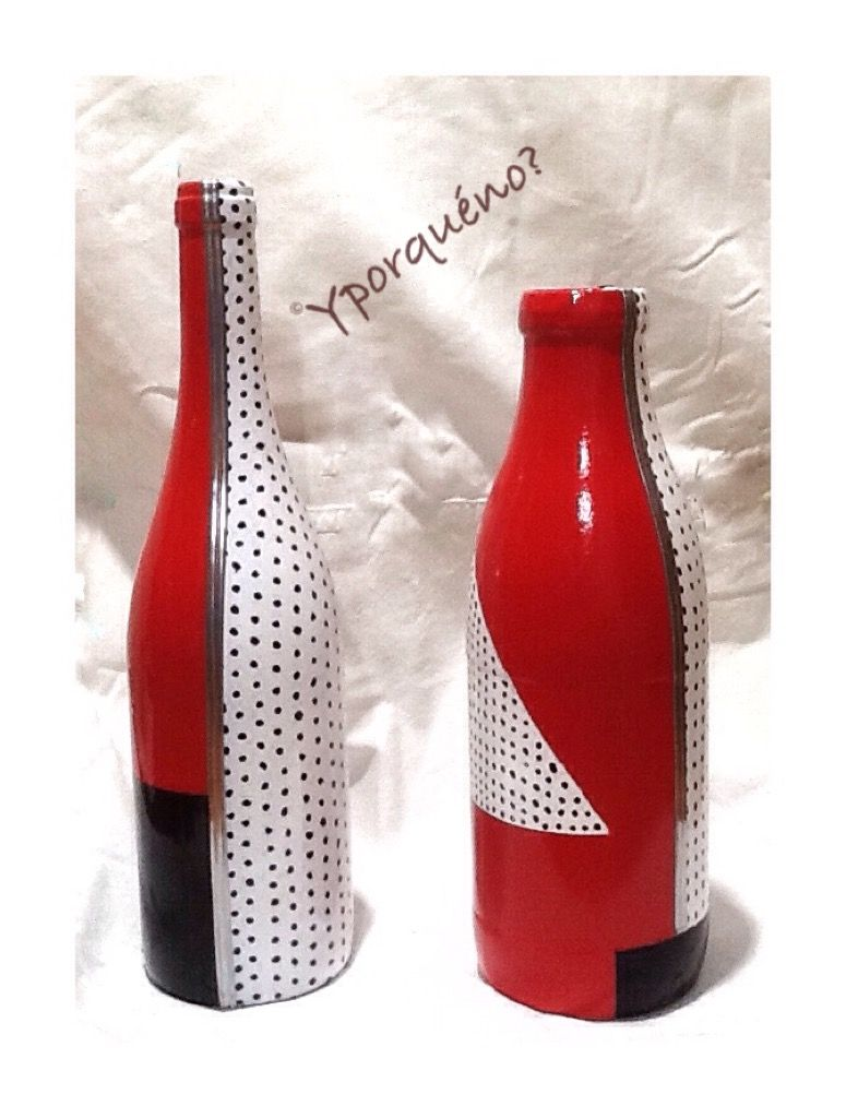 Inspirado En J Kaneko Botellas Yporqueno Glass Bottle Crafts Painted Wine Bottles Wine Bottle Art