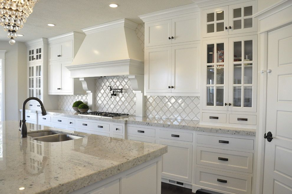 Colonial White Granite Kitchen Farmhouse With Dark Island