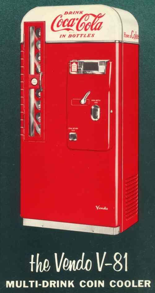 distributeur de boissons coca cola vendo v 81 ann es 50 publicit vintage au temps. Black Bedroom Furniture Sets. Home Design Ideas
