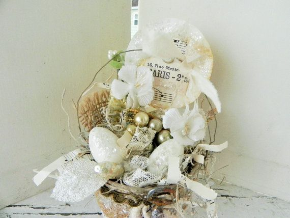 Rustic Handmade Peat Pot Nest Collage w/ Old by backthroughtime