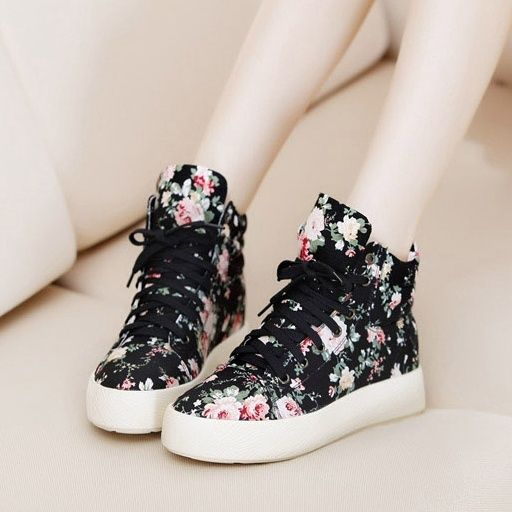 cute floral black shoes for girl https://www.wish.com/c ...