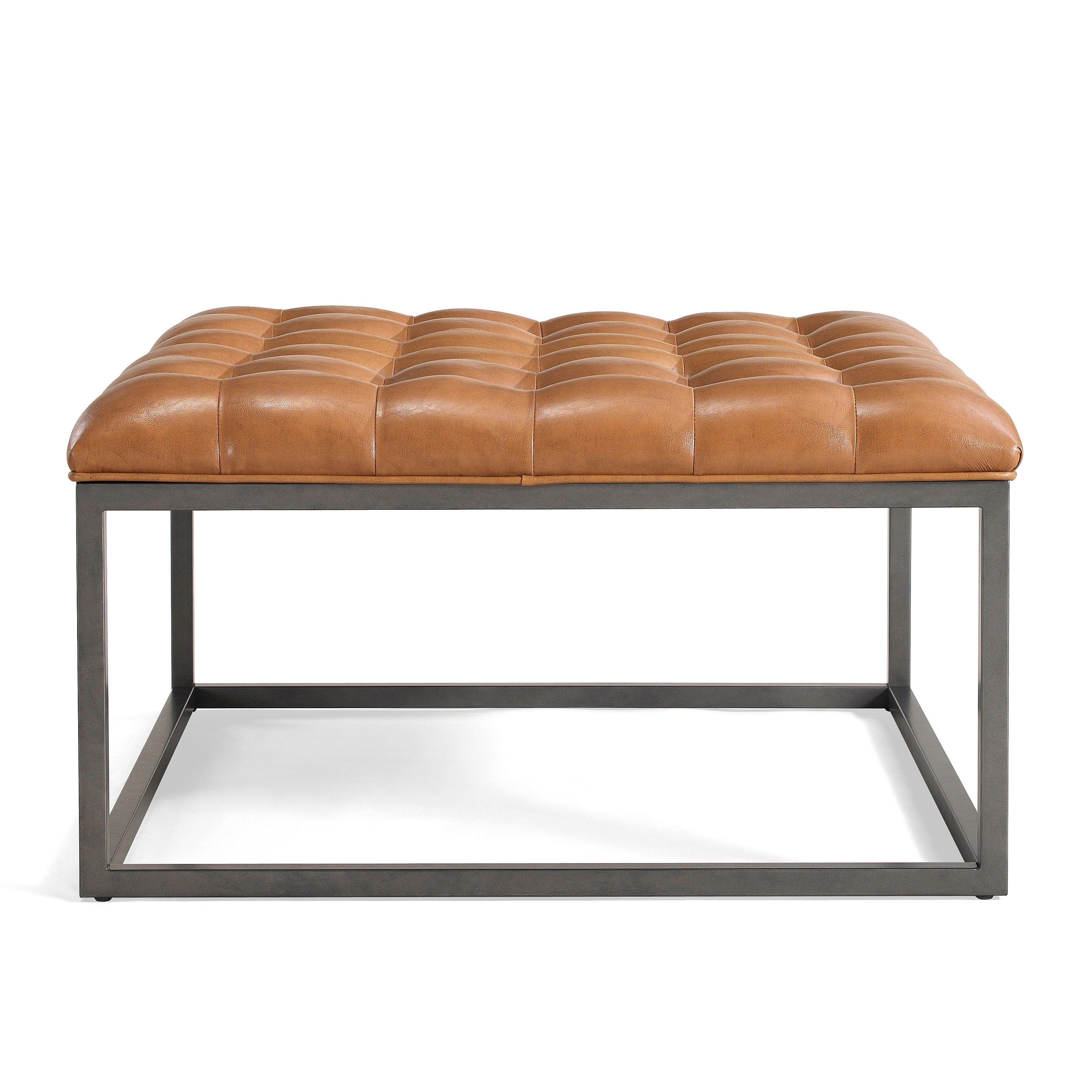 Terrific Healy Saddle Brown Leather Tufted Ottoman Saddle Brown Inzonedesignstudio Interior Chair Design Inzonedesignstudiocom