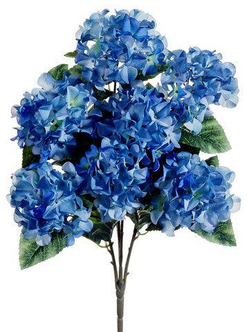 Blue hydrangea silk flowers bush 25 flowers pinterest silk hydrangea silk flowers bush in two tone blue 25 tall mightylinksfo